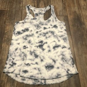 Mossimo White Gray Tie Dyed Racer Back Tank Top